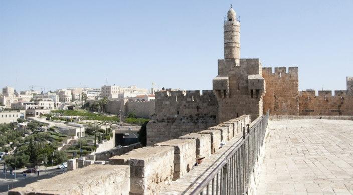 Scene of Jerusalem with a lot of buildings made from Jerusalem stone
