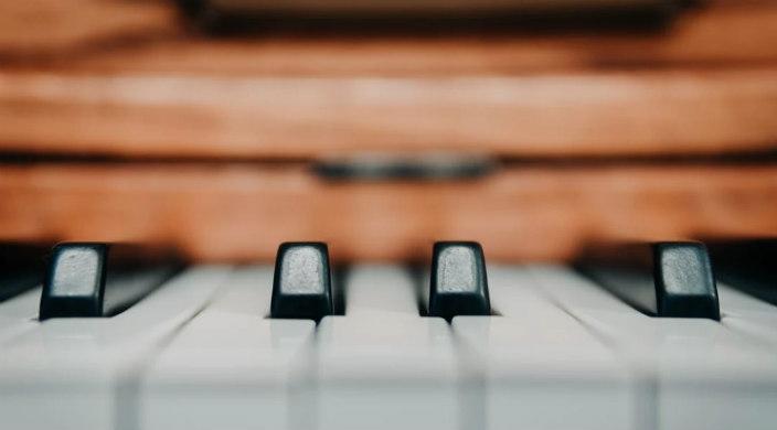 Closeup of piano keys