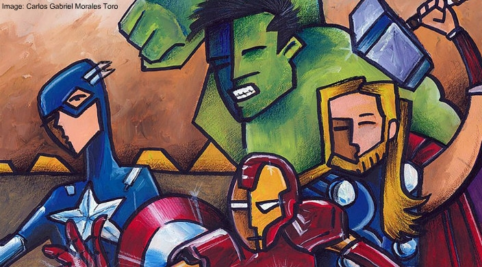 Line drawing of some of the characters from the Avengers movie