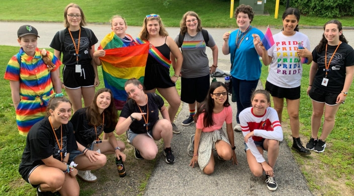 Sci-Tech campers and staff showing support for the LGBTQIA+ community