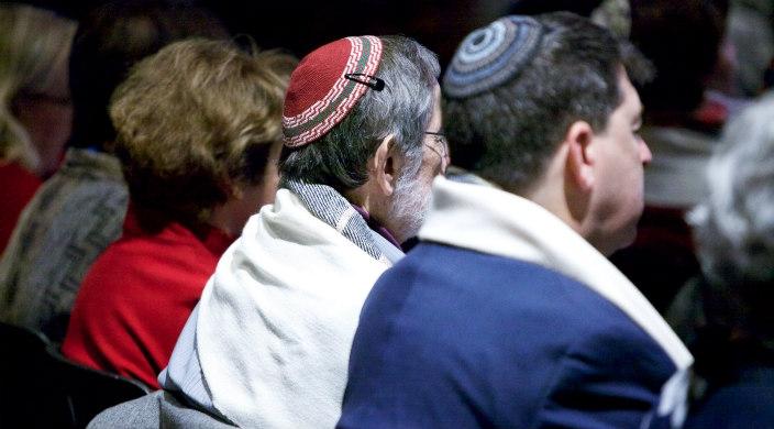 Three congregants during worship services