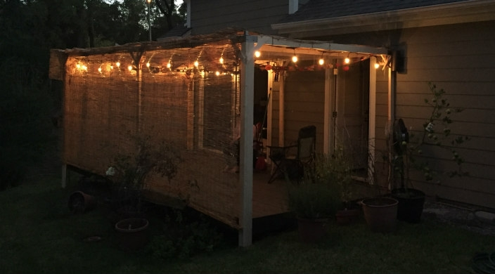 The author's sukkah at night