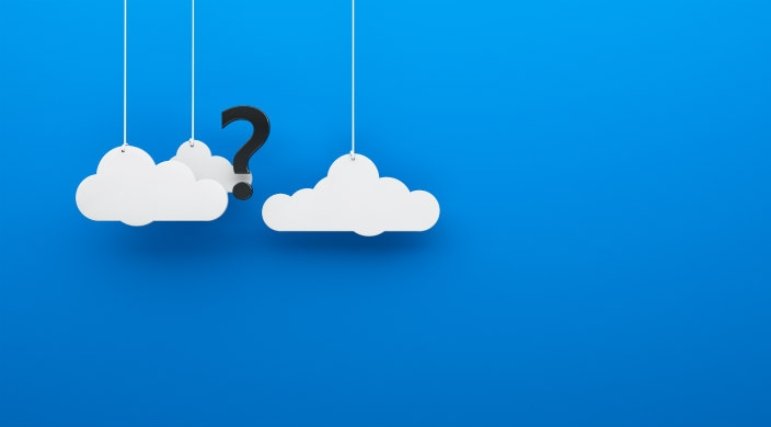 A black question mark amidst clouds on a blue background