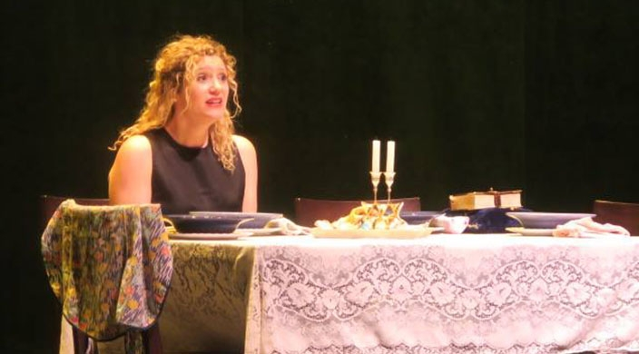 "The author in a scene from her one-woman show, ""Bubby's Kitchen"""