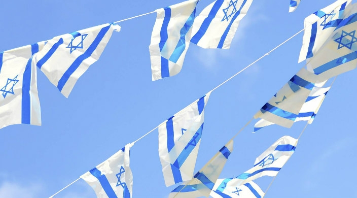 Israeli flags blowing in the wind