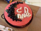 I made a pomegranate blueberry cheesecake for Shavuot!
