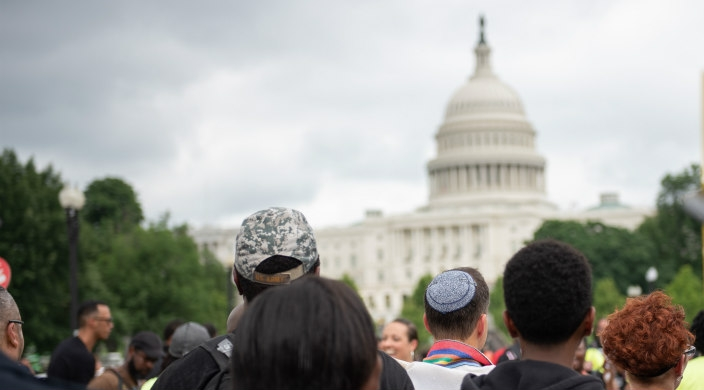 Black and white people standing with their back to the camera facing the US Capitol building