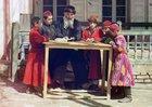 A group of Jewish children with a teacher in Samarkand, (in modern Uzbekistan), ca. 1910.