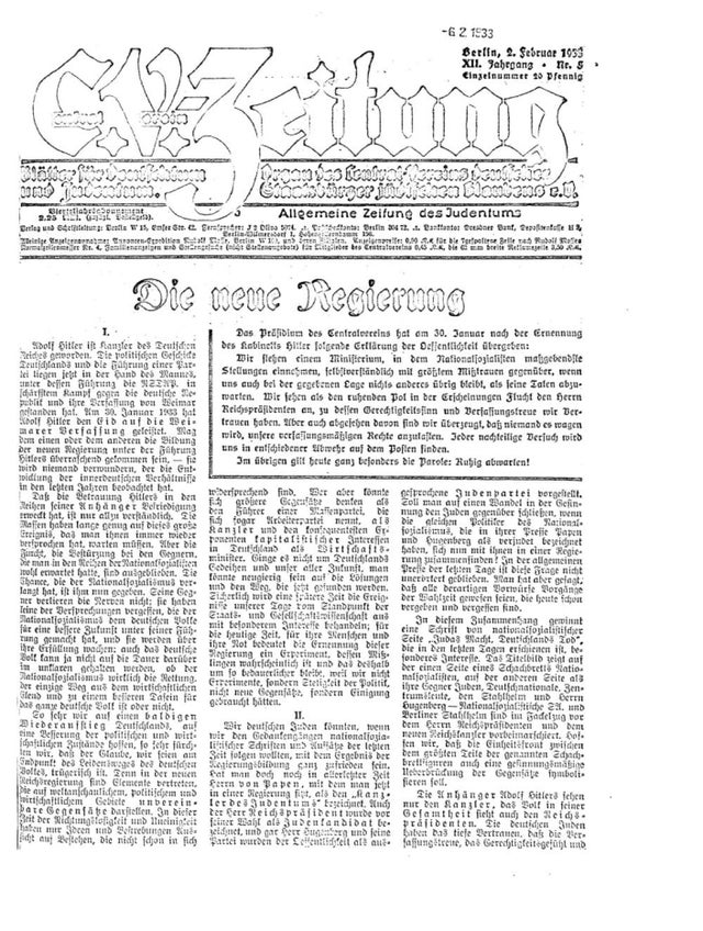 Front page of the biggest jewish german newspaper - two days after Hitler came to power (translation in the comments).