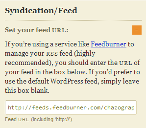 Thesis Options - Syndication/Feed URL