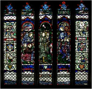 Arts and Crafts WW1 Memorial East window at St Pol de Leon church in West Cornwall