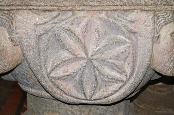 The Norman font at St Nonna's Church, Altarnun - detail