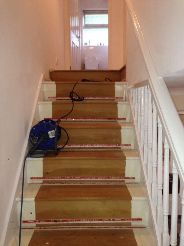 New Staircase And Landing Carpet In Hazel Grove Cheadle Floors   Carpet For Stairs And Landing   Textured   Patterned   Silver   Neutral   Hardwood