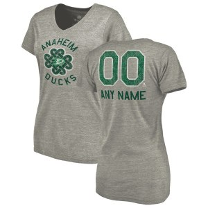 Women's Anaheim Ducks Fanatics Branded Heathered Gray Personalized St. Patrick's Day Luck Tradition Tri-Blend V-Neck T-Shirt