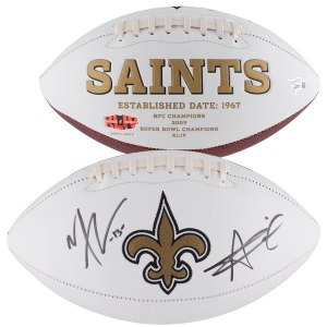 Autographed New Orleans Saints Alvin Kamara & Michael Thomas Fanatics Authentic White Panel Football