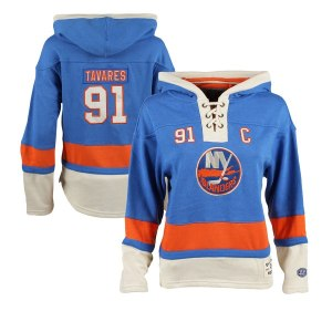 Women's New York Islanders John Tavares Old Time Hockey Royal Lacer Name & Number Hoodie