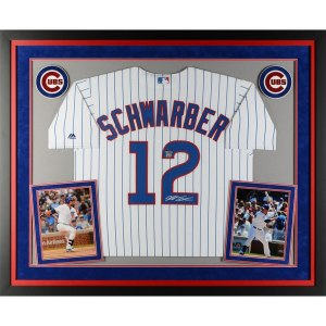 Autographed Chicago Cubs Kyle Schwarber Fanatics Authentic Deluxe Framed White Replica Jersey
