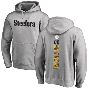 Men's Pittsburgh Steelers NFL Pro Line Ash Personalized Backer Pullover Hoodie