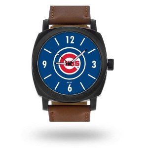 Men's Chicago Cubs Sparo Brown Personalized Strap Watch