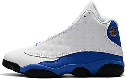Men's Retro 13 OG High Top Fearless Classic Breathable Comfortable Non-Slip Wear-Resistant High Top Shock Absorption Training Shoes Hardened Basketball Sneakers (8.5,White-Blue 1) Richmond, Virginia