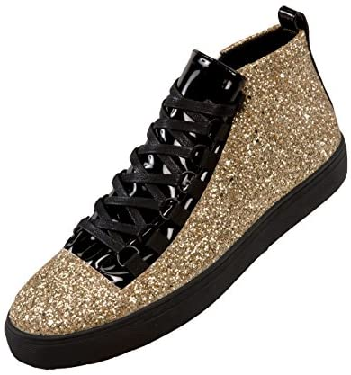 Sio Faux Leather Glitter Mid Top Sneaker with Pattent Eyestay and Black Outsole, Style Mendoza Huntsville, Alabama