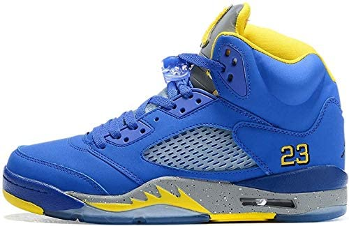 Men's 5 Retro OG Casual Classic Fearless Breathable High-top Shock Absorption Training Wear-Resistant Sneakers Basketball Shoes (Blue,8.5) Carlsbad, California