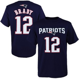 Youth New England Patriots Tom Brady Navy Blue Primary Gear Name & Number T-Shirt