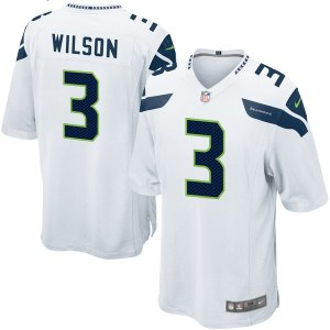 d3f0b3504 Mens Seattle Seahawks Russell Wilson Nike White Game Jersey
