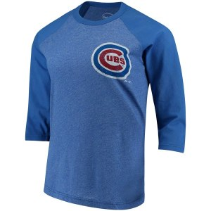 Women's Chicago Cubs Jake Arrieta Majestic Threads Royal Name & Number Three-Quarter Length Raglan T-Shirt