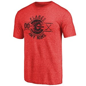 Men's Calgary Flames Fanatics Branded Red Personalized Insignia Tri-Blend T-Shirt
