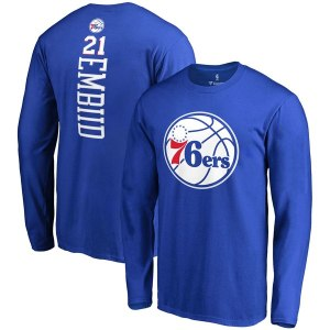 Men's Philadelphia 76ers Joel Embiid Fanatics Branded Royal Backer Name & Number Long Sleeve T-Shirt