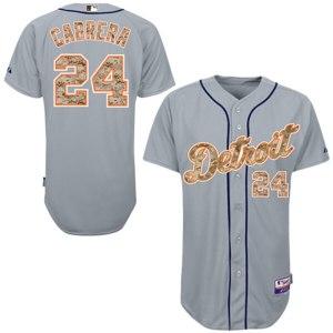 Men's Detroit Tigers Miguel Cabrera Majestic Gray USMC Player Authentic Jersey
