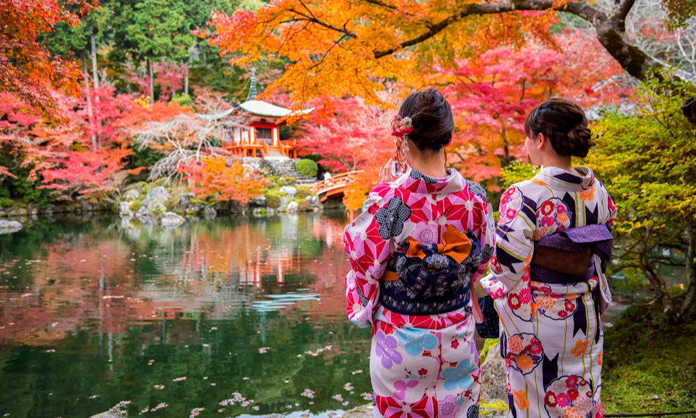 fun places to go visit in 2020: Young women wearing traditional Japanese Kimono at Daigo-ji temple with colorful maple trees in autumn