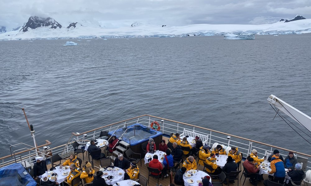 how to get to Antarctica: dining on a ship