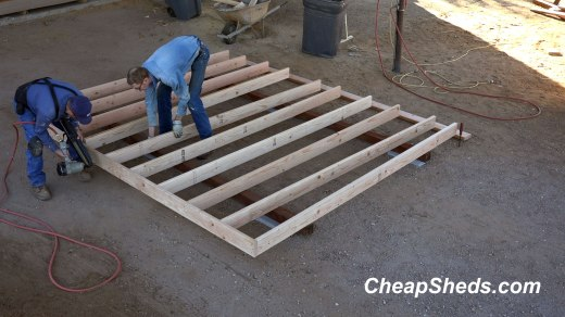 Layout 1 inch on center and put 3 nails in each joist