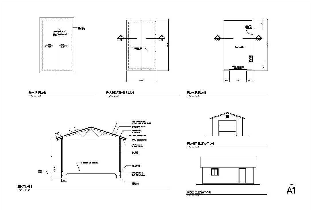 1424 1 car garage plans blueprints free materials list and cost typical layout look like this click for a larger image malvernweather Image collections