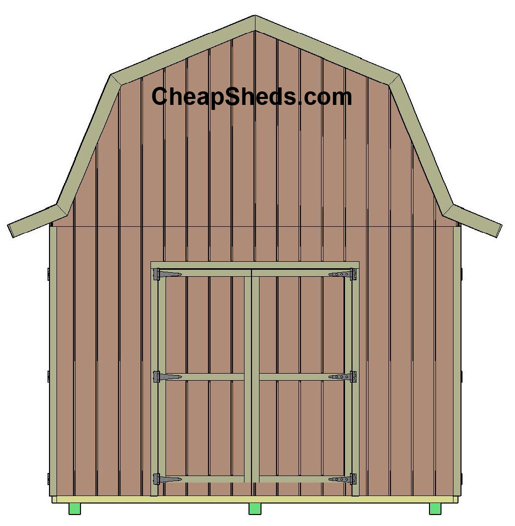 Tall gambrel barn style sheds for Barn shed with loft plans