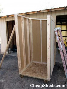 Bike Shed Plans Step 5 Attach Walls To Floor Cheapsheds Com