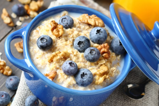 Oatmeal, milk, nuts, blueberries