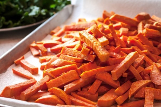 Sweet potato fries before adding toppings