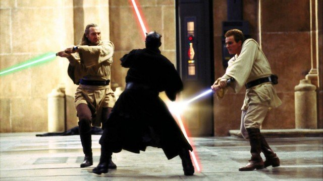 Liam Neeson, Ray Park and Ewan McGregor in 'The Phantom Menace'