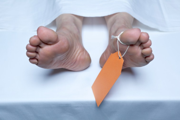 feet of a deceased person