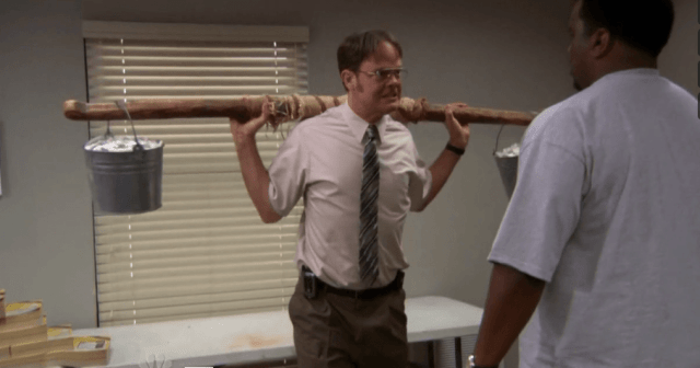 Dwight Schrute demonstrates an old-timey, and likely useless workout