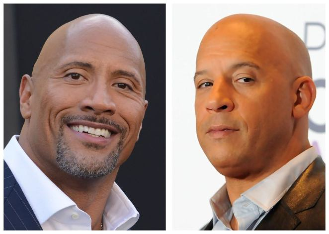 There are head shots of Dwayne Johnson and Vin Diesel side by side.