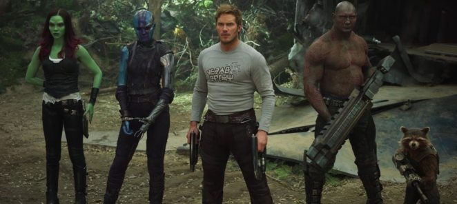 The Guardians of the Galaxy standing together on a wooded forest planet