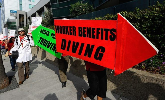 worker benefits protest