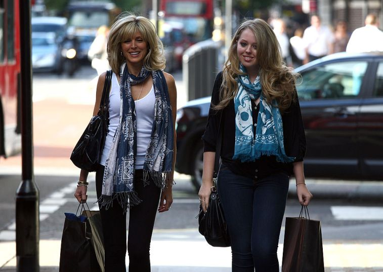 Tiffany Trump and Marla Maples walk through central London