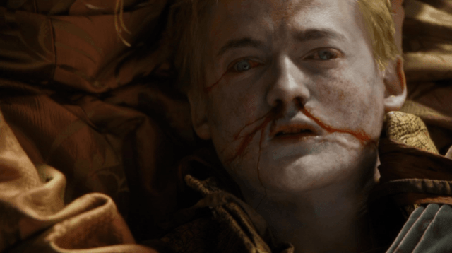 Joffrey, lying dead on the ground, in a scene from Season 4, Episode 2 of 'Game of Thrones.'