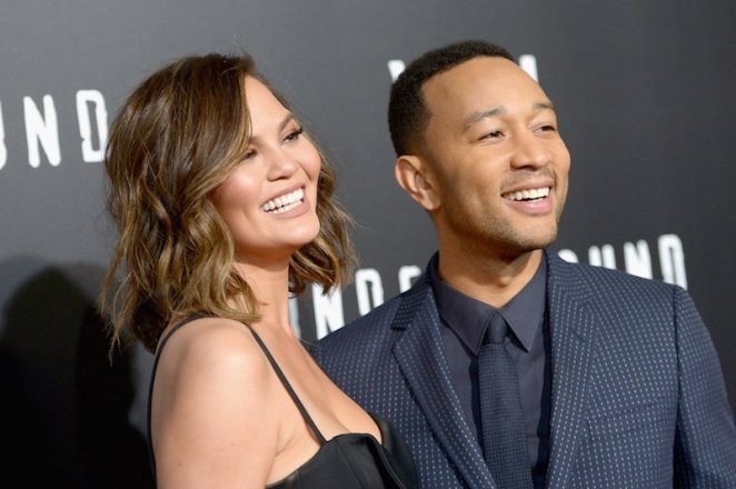 "Model Chrissy Teigen (L) and actor/singer/executive producer John Legend attend WGN America's ""Underground"" Season Two Premiere"