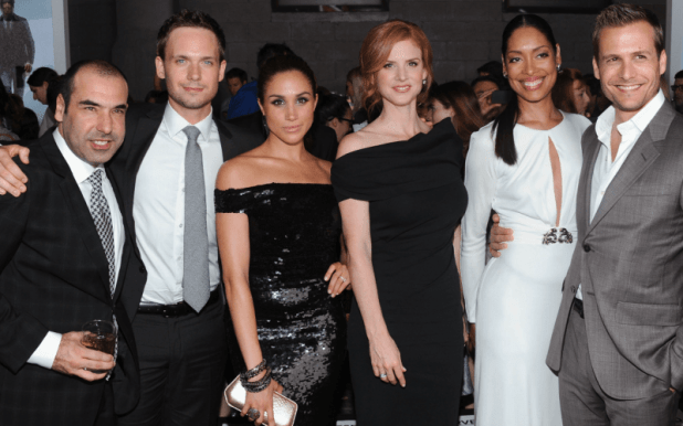 Rick Hoffman, Patrick J. Adams, Meghan Markle, Sarah Rafferty, Gina Torres and Gabriel Macht of costumes